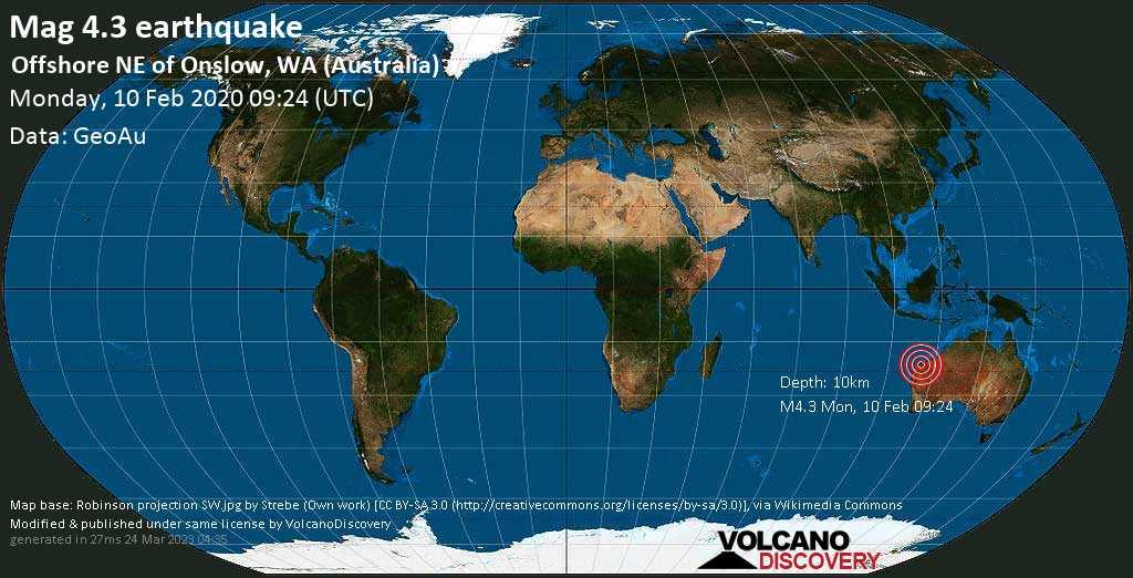 Light mag. 4.3 earthquake  - Offshore NE of Onslow, WA (Australia) on Monday, 10 February 2020