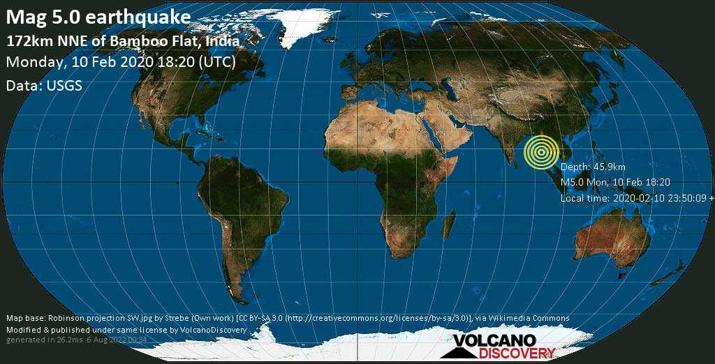 Moderate mag. 5.0 earthquake  - 172km NNE of Bamboo Flat, India on Monday, 10 February 2020