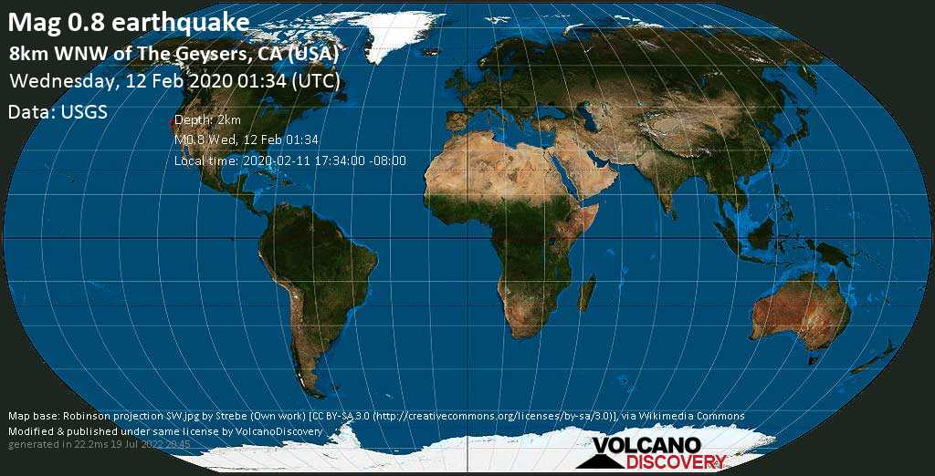 Débil terremoto magnitud 0.8 - 8km WNW of The Geysers, CA (USA) miércoles, 12 feb. 2020