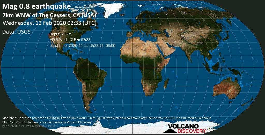 Débil terremoto magnitud 0.8 - 7km WNW of The Geysers, CA (USA) miércoles, 12 feb. 2020