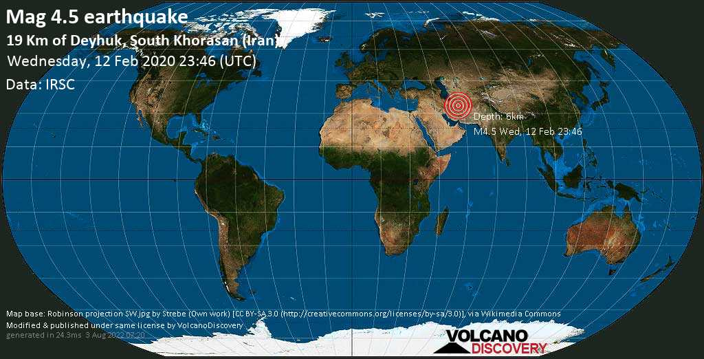 Light mag. 4.5 earthquake  - 19 km of Deyhuk, South Khorasan (Iran) on Wednesday, 12 February 2020