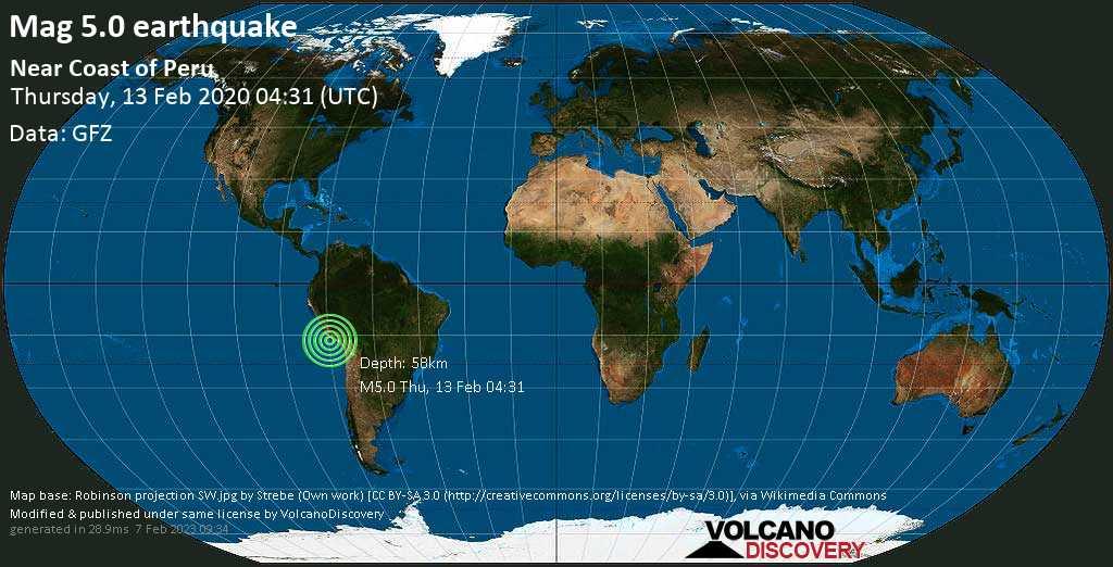 Moderate mag. 5.0 earthquake  - Near Coast of Peru on Thursday, 13 February 2020
