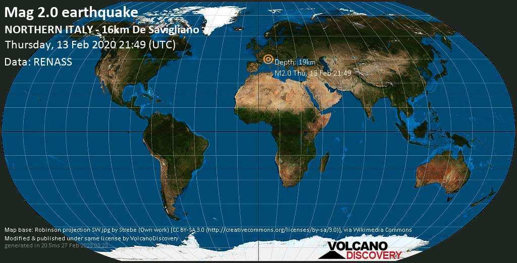 Débil terremoto magnitud 2.0 - NORTHERN ITALY - 16km de Savigliano jueves, 13 feb. 2020