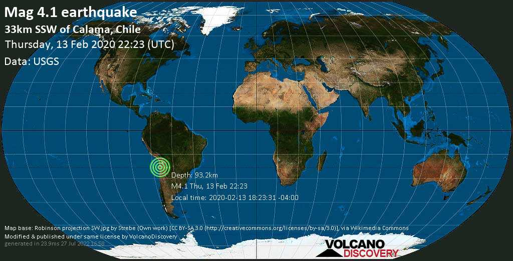 M 4.1 quake: 33km SSW of Calama, Chile on Thu, 13 Feb 22h23