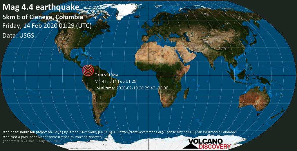 Light mag. 4.4 earthquake  - 5km E of Cienega, Colombia on Friday, 14 February 2020