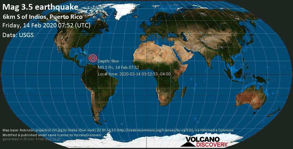 Debile terremoto magnitudine 3.5 - 6km S of Indios, Puerto Rico venerdí, 14 febbraio 2020