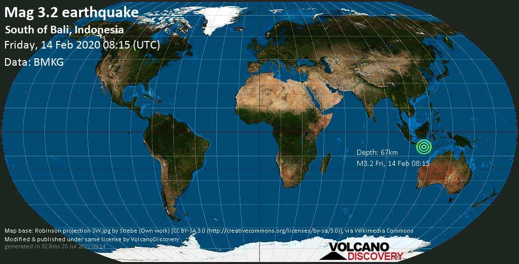 Minor mag. 3.2 earthquake  - South of Bali, Indonesia on Friday, 14 February 2020