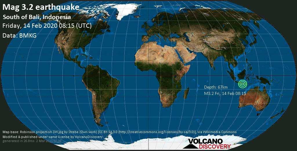 Débil terremoto magnitud 3.2 - South of Bali, Indonesia viernes, 14 feb. 2020