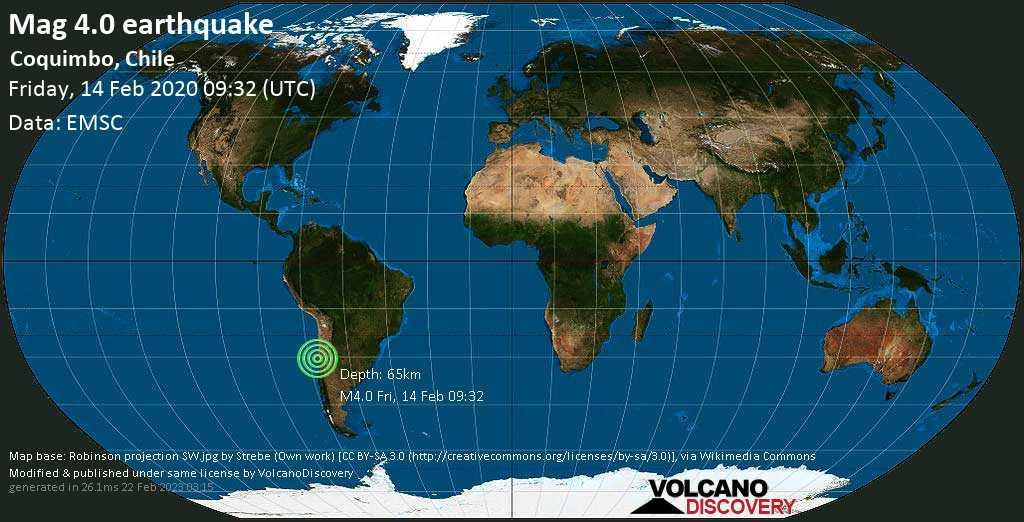 Light mag. 4.0 earthquake  - Coquimbo, Chile on Friday, 14 February 2020