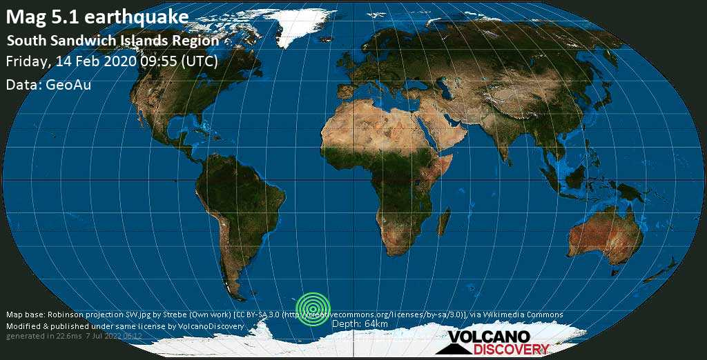 Moderate mag. 5.1 earthquake  - South Sandwich Islands Region on Friday, 14 February 2020