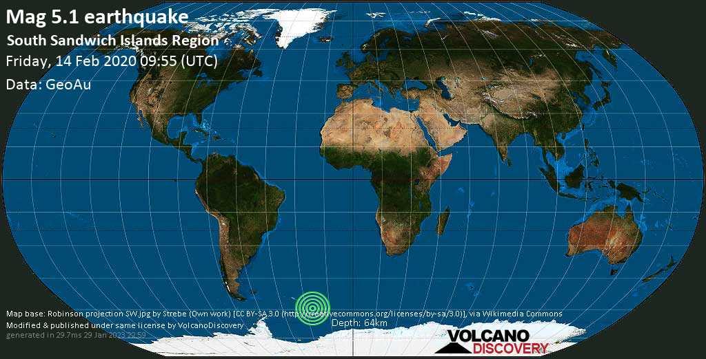 Moderato terremoto magnitudine 5.1 - South Sandwich Islands Region venerdí, 14 febbraio 2020