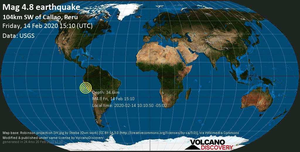 Leggero terremoto magnitudine 4.8 - 104km SW of Callao, Peru venerdí, 14 febbraio 2020