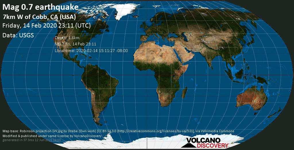 Débil terremoto magnitud 0.7 - 7km W of Cobb, CA (USA) viernes, 14 feb. 2020