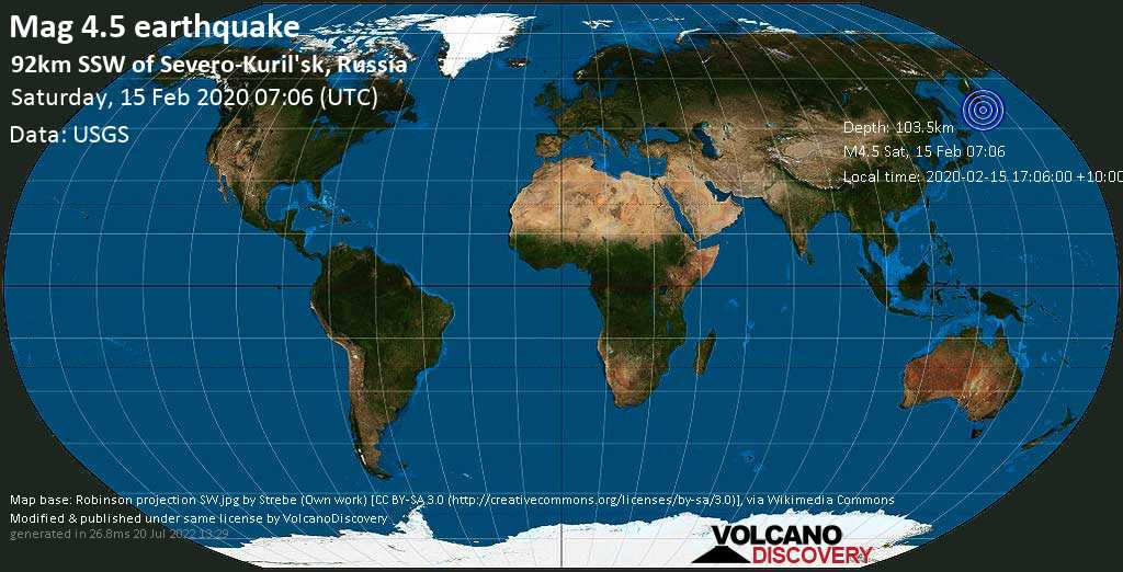 Light mag. 4.5 earthquake  - 92km SSW of Severo-Kuril\'sk, Russia on Saturday, 15 February 2020