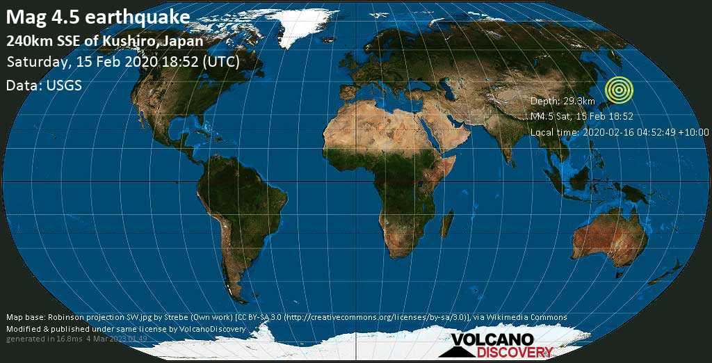 Light mag. 4.5 earthquake  - 240km SSE of Kushiro, Japan on Saturday, 15 February 2020