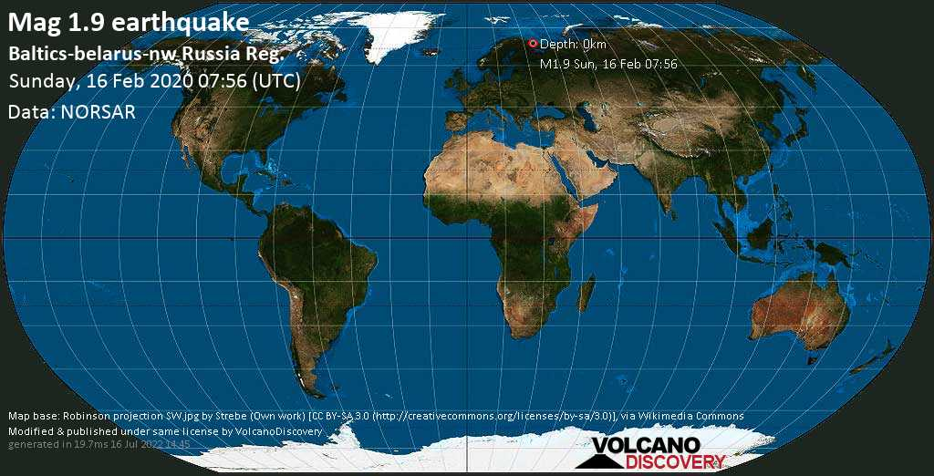 Minor mag. 1.9 earthquake  - Baltics-belarus-nw Russia Reg. on Sunday, 16 February 2020