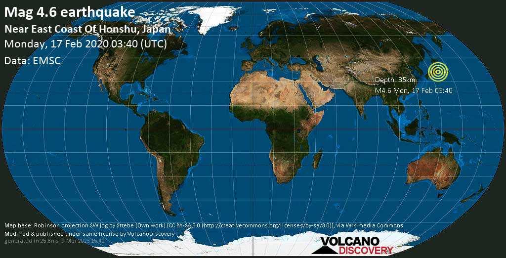 Light mag. 4.6 earthquake  - Near East Coast Of Honshu, Japan on Monday, 17 February 2020