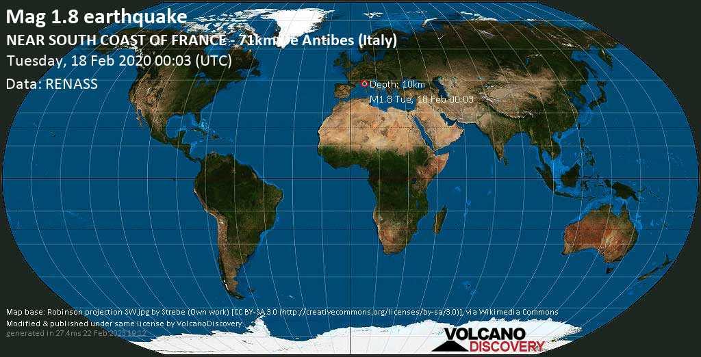 Schwaches Erdbeben der Stärke 1.8 - NEAR SOUTH COAST OF FRANCE - 71km de Antibes (Italy) am Dienstag, 18. Feb. 2020