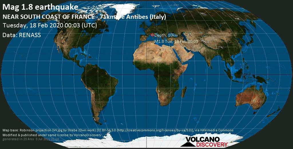 Débil terremoto magnitud 1.8 - NEAR SOUTH COAST OF FRANCE - 71km de Antibes (Italy) martes, 18 feb. 2020