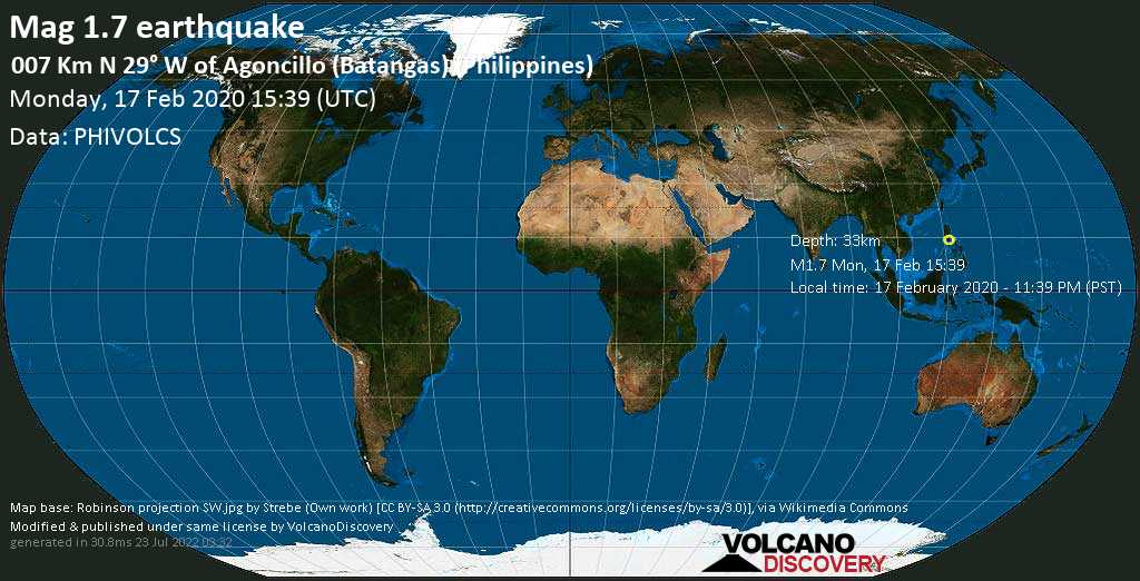 Minor mag. 1.7 earthquake  - 007 km N 29° W of Agoncillo (Batangas) (Philippines) on Monday, 17 February 2020