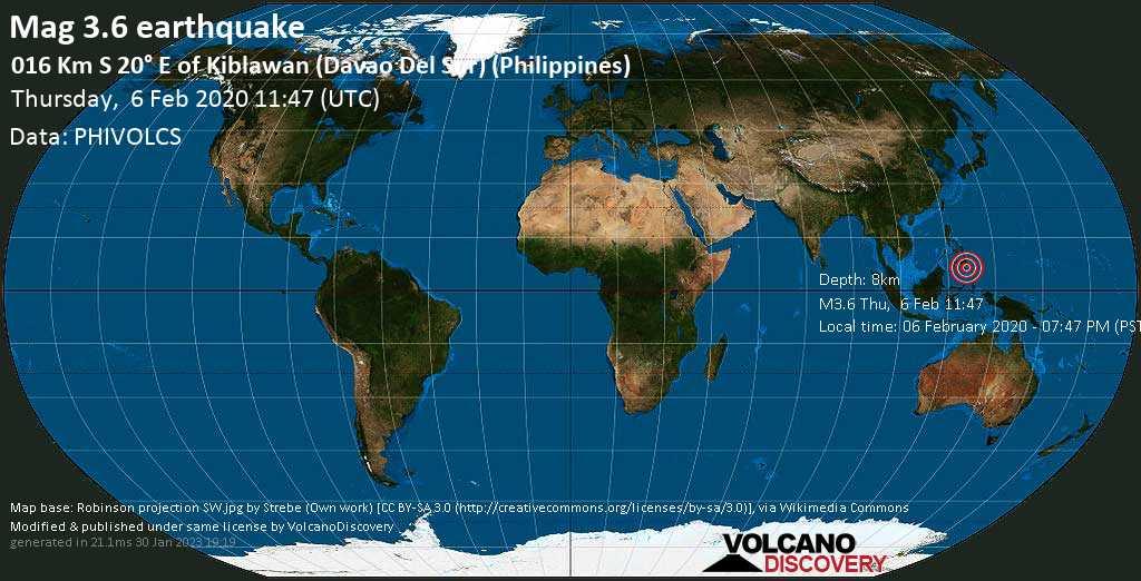 Minor mag. 3.6 earthquake  - 016 km S 20° E of Kiblawan (Davao Del Sur) (Philippines) on Thursday, 6 February 2020