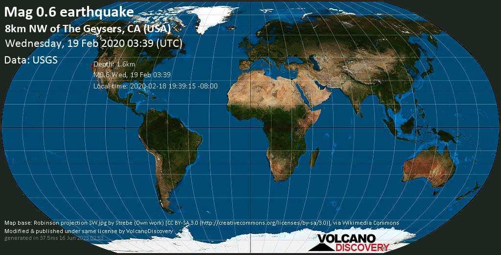 Minor mag. 0.6 earthquake  - 8km NW of The Geysers, CA (USA) on Wednesday, 19 February 2020
