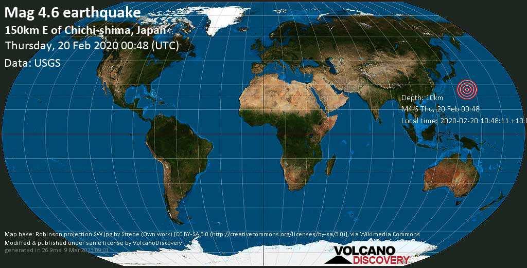Leve terremoto magnitud 4.6 - 150km E of Chichi-shima, Japan jueves, 20 feb. 2020