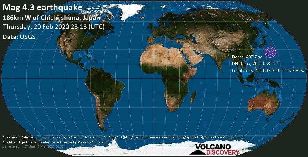 Light mag. 4.3 earthquake  - 186km W of Chichi-shima, Japan on Thursday, 20 February 2020