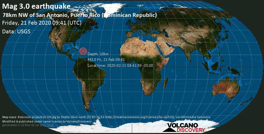 Minor mag. 3.0 earthquake  - 78km NW of San Antonio, Puerto Rico (Dominican Republic) on Friday, 21 February 2020