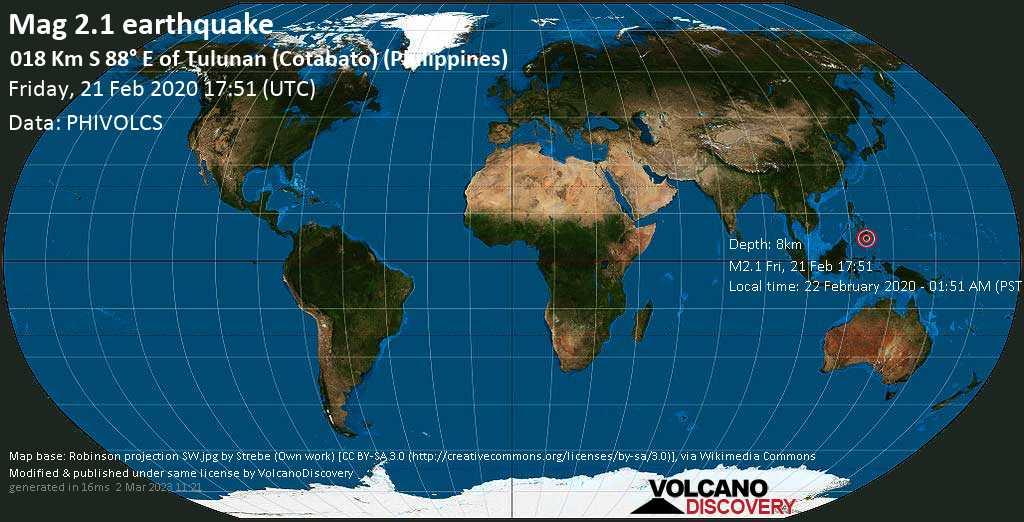 M 2.1 quake: 018 km S 88° E of Tulunan (Cotabato) (Philippines) on Fri, 21 Feb 17h51