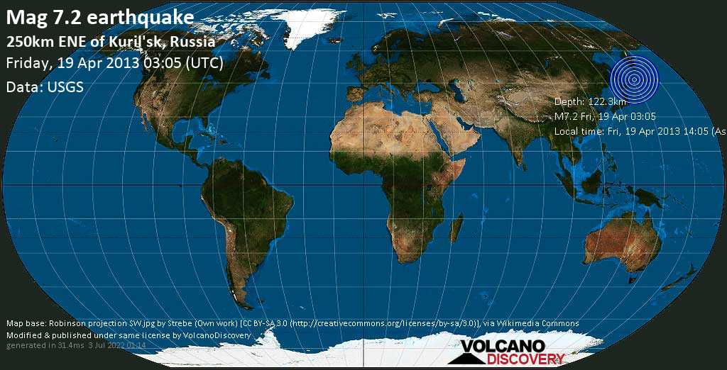 Major mag. 7.2 earthquake  - 250km ENE of Kuril\'sk, Russia on Friday, 19 April 2013