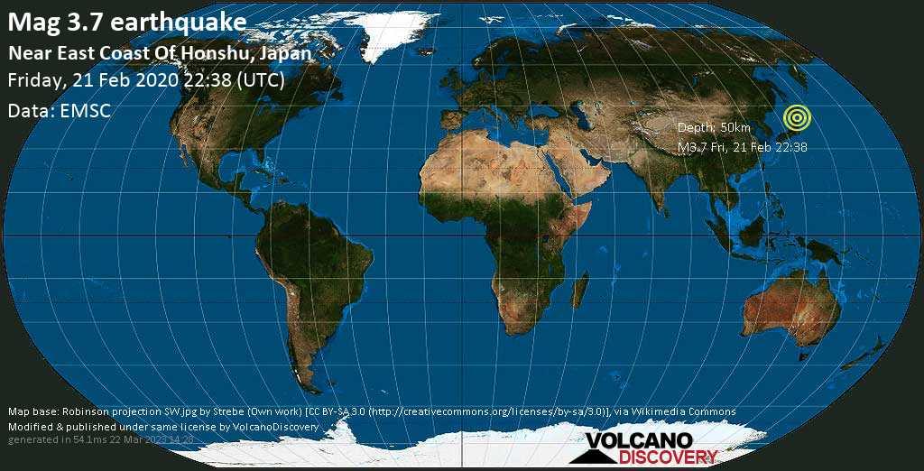 Debile terremoto magnitudine 3.7 - Near East Coast Of Honshu, Japan venerdí, 21 febbraio 2020