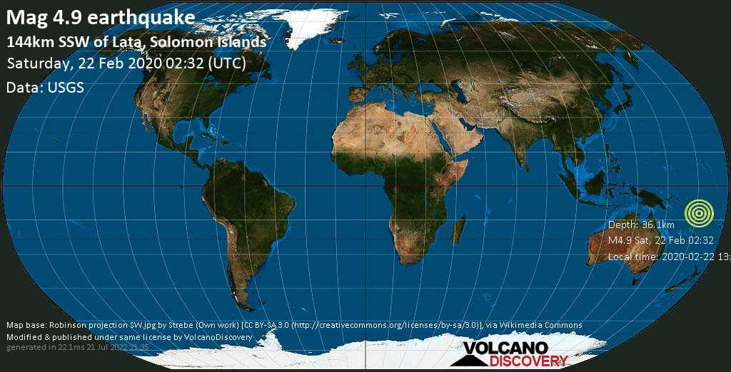 Light mag. 4.9 earthquake  - 144km SSW of Lata, Solomon Islands on Saturday, 22 February 2020
