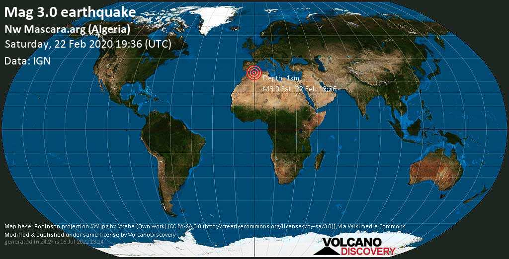 Débil terremoto magnitud 3.0 - Nw Mascara.arg (Algeria) sábado, 22 feb. 2020