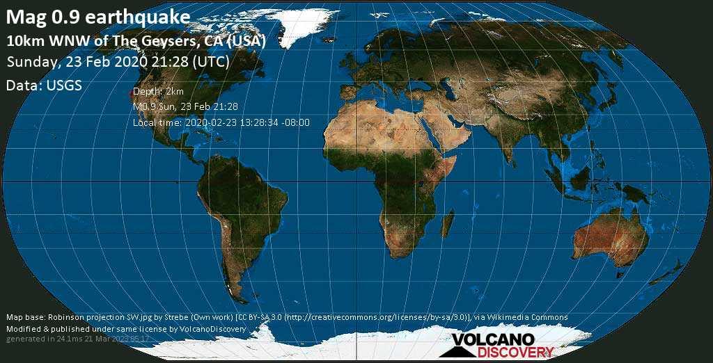 Minor mag. 0.9 earthquake  - 10km WNW of The Geysers, CA (USA) on Sunday, 23 February 2020