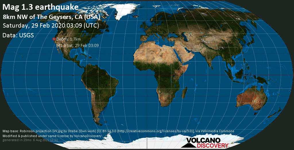 Minor mag. 1.3 earthquake  - 8km NW of The Geysers, CA (USA) on Saturday, 29 February 2020