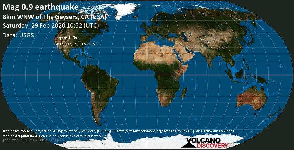 Minor mag. 0.9 earthquake  - 8km WNW of The Geysers, CA (USA) on Saturday, 29 February 2020