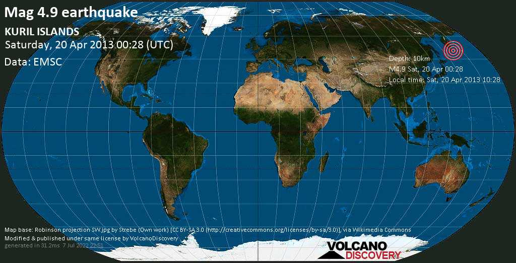 Light mag. 4.9 earthquake  - KURIL ISLANDS on Saturday, 20 April 2013