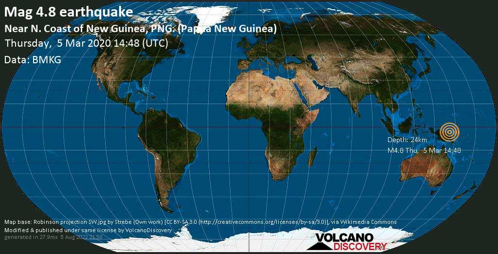 Light mag. 4.8 earthquake  - Near N. Coast of New Guinea, PNG. (Papua New Guinea) on Thursday, 5 March 2020