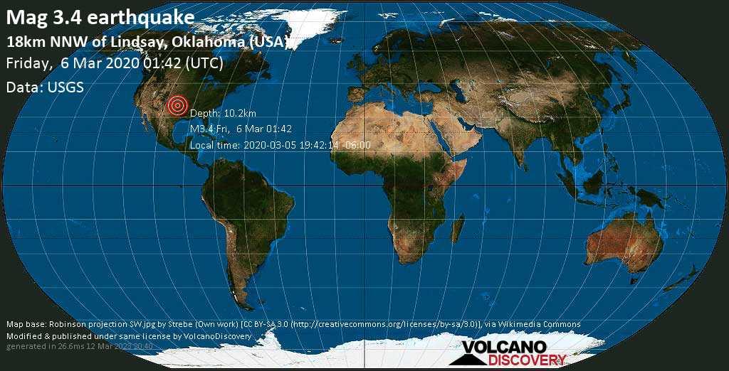 Minor mag. 3.4 earthquake  - 18km NNW of Lindsay, Oklahoma (USA) on Friday, 6 March 2020