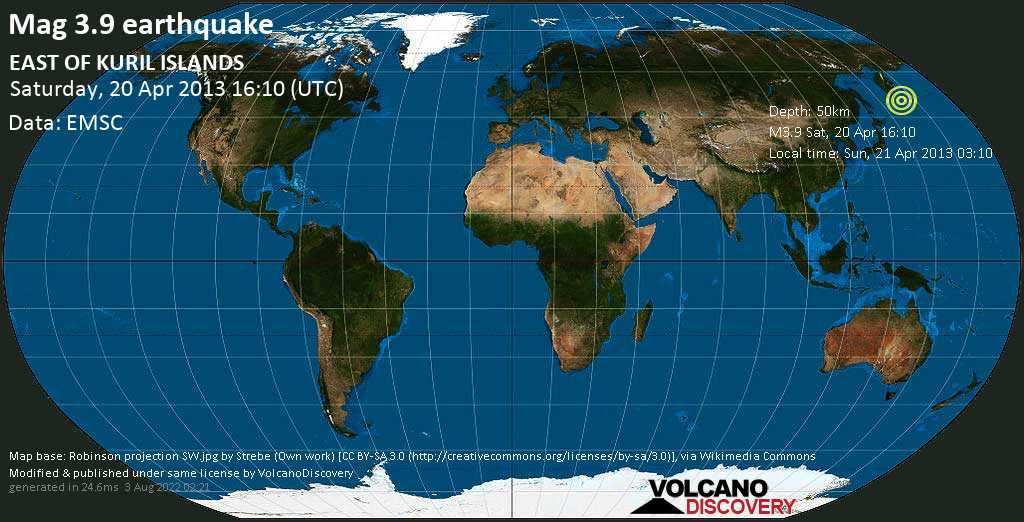 Minor mag. 3.9 earthquake  - EAST OF KURIL ISLANDS on Saturday, 20 April 2013