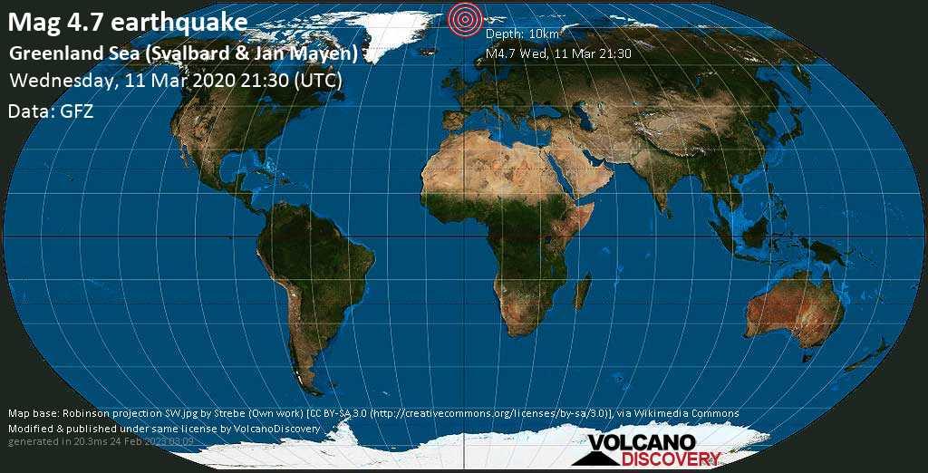 Light mag. 4.7 earthquake  - Greenland Sea (Svalbard & Jan Mayen) on Wednesday, 11 March 2020
