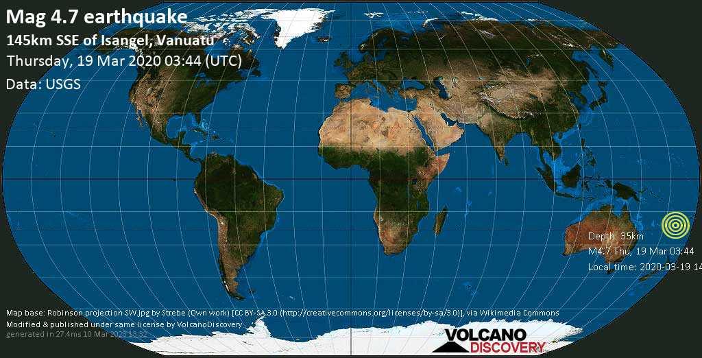 Leichtes Erdbeben der Stärke 4.7 - 145km SSE of Isangel, Vanuatu am Donnerstag, 19. Mär. 2020