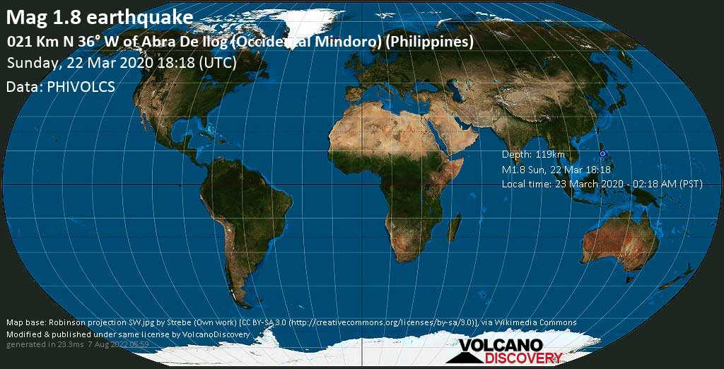 Minor mag. 1.8 earthquake  - 021 km N 36° W of Abra De Ilog (Occidental Mindoro) (Philippines) on Sunday, 22 March 2020