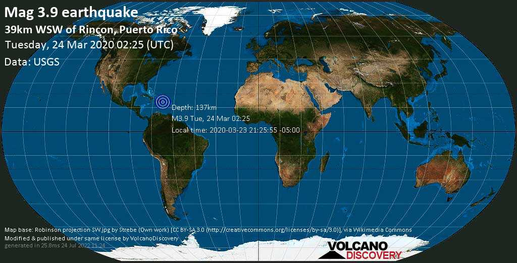 Minor mag. 3.9 earthquake  - 39km WSW of Rincon, Puerto Rico on Tuesday, 24 March 2020