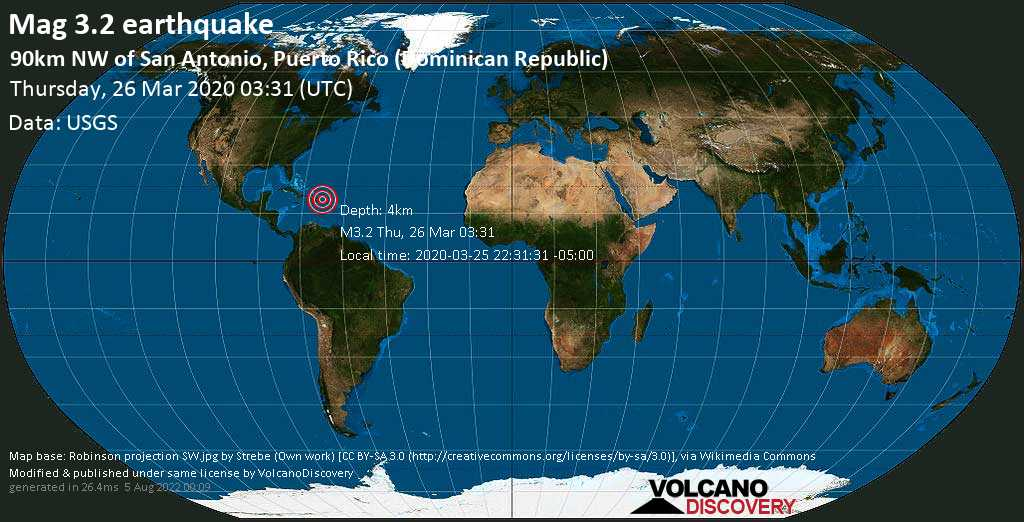 Minor mag. 3.2 earthquake  - 90km NW of San Antonio, Puerto Rico (Dominican Republic) on Thursday, 26 March 2020
