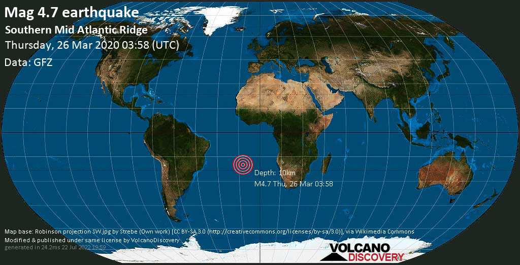 Light mag. 4.7 earthquake  - Southern Mid Atlantic Ridge on Thursday, 26 March 2020