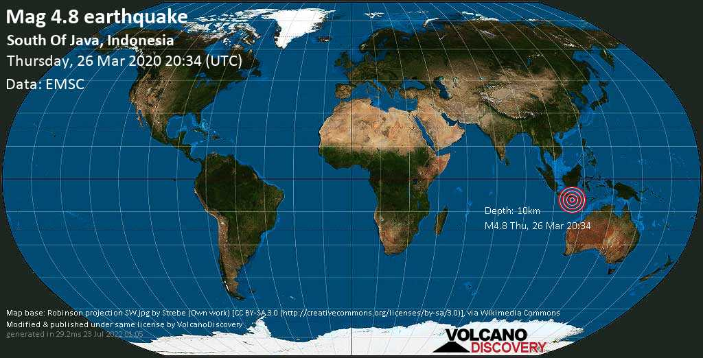 Light mag. 4.8 earthquake  - South Of Java, Indonesia on Thursday, 26 March 2020