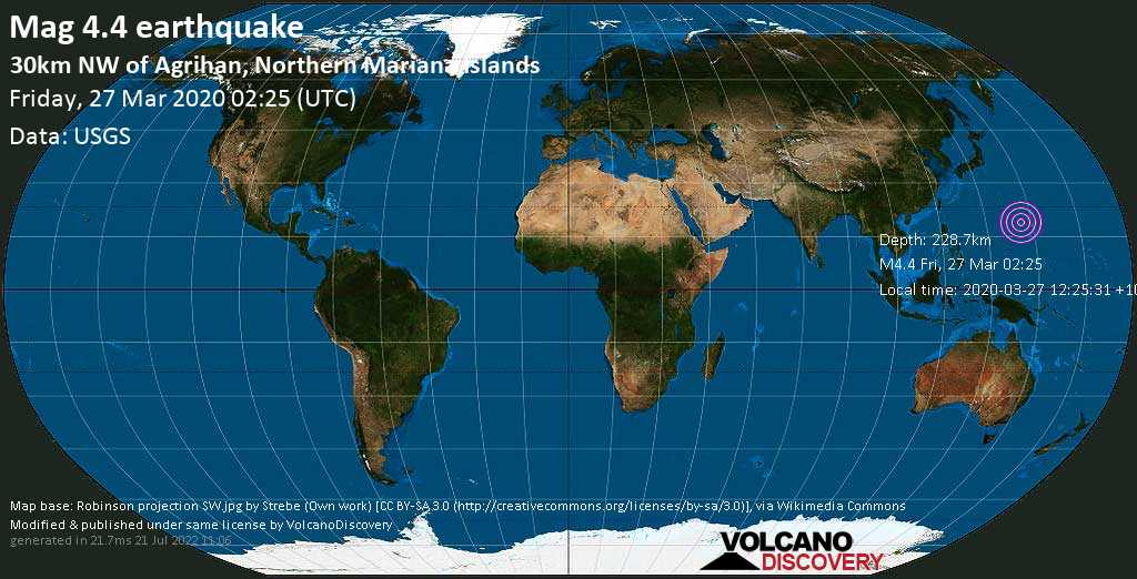 Light mag. 4.4 earthquake  - 30km NW of Agrihan, Northern Mariana Islands on Friday, 27 March 2020