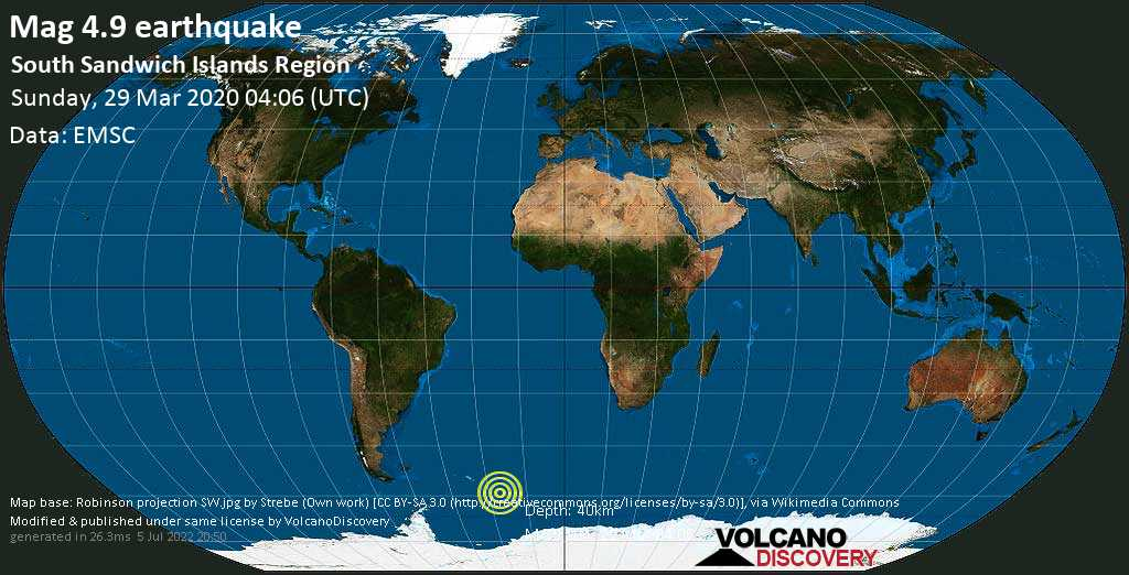 Light mag. 4.9 earthquake  - South Sandwich Islands Region on Sunday, 29 March 2020